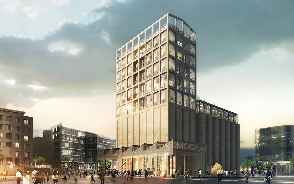 A preview of the exterior of Zeitz MOCAA, housed in an old grain silo on Cape Town's Waterfront