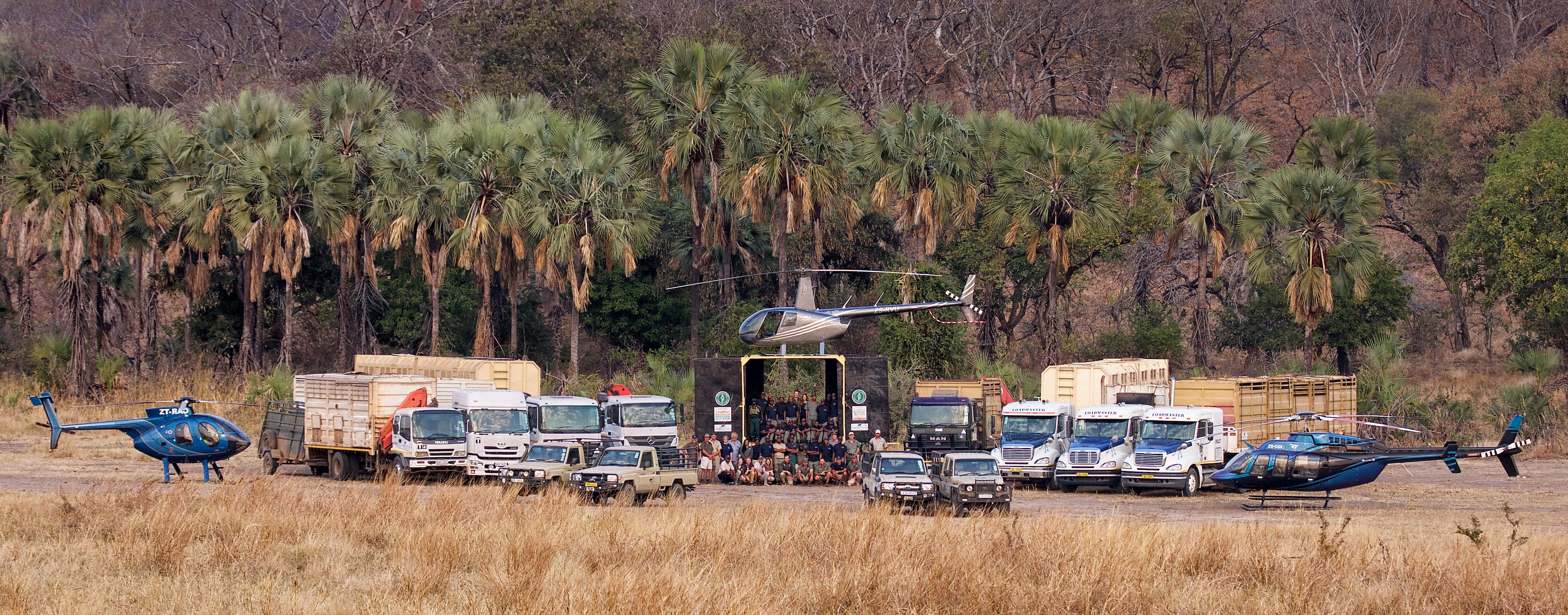 What it takes to move 500 elephants: all this equipment was brought up from South Africa as part of this massive operation. Photo by Frank Weitzer.