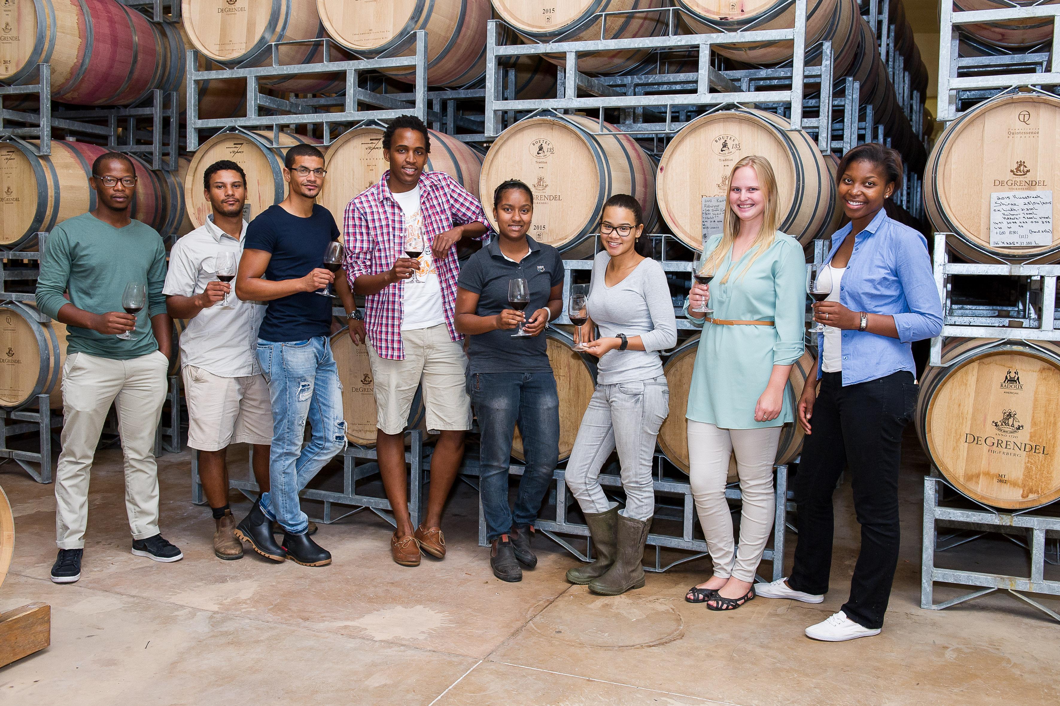From left to right Banele Vakele, Logan Jooste, Clayton Christiaans, Sydney Mello, Rose Kruger, Kiara Scott, Maryna Huysamen, Mahalia Kotjane HR