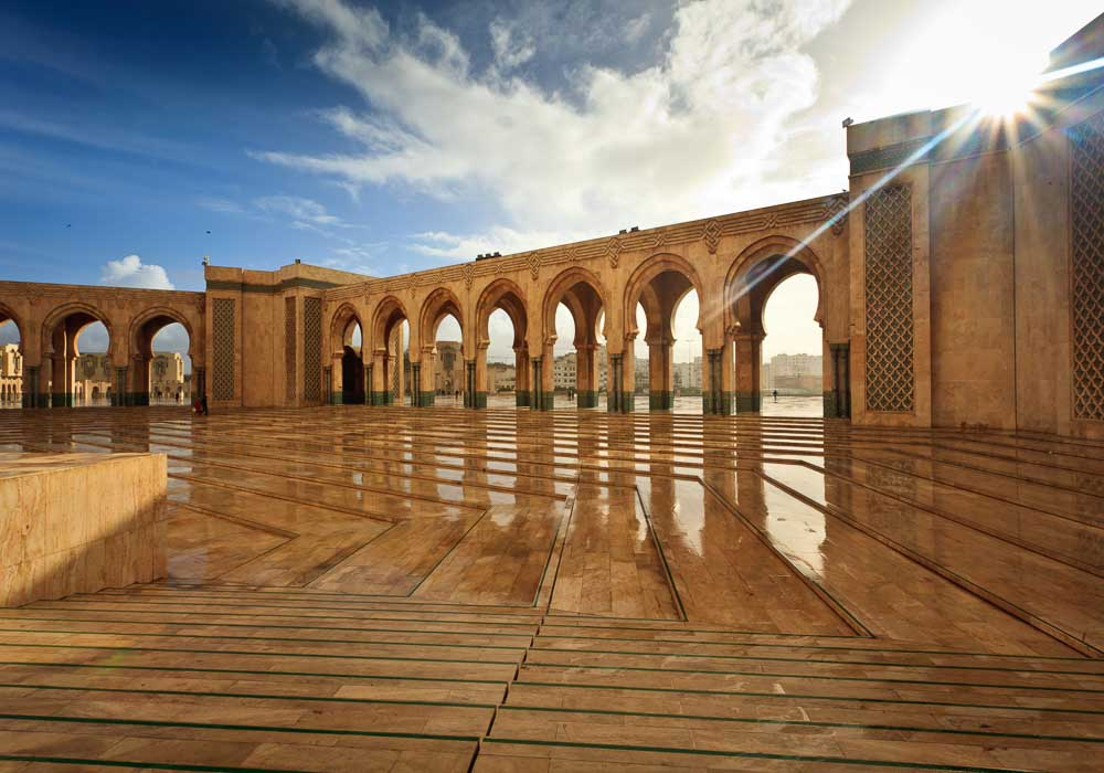 Sparkling marble arcade of Hamman II Mosque on a Sunny Day. Image courtesy of Visit Morocco