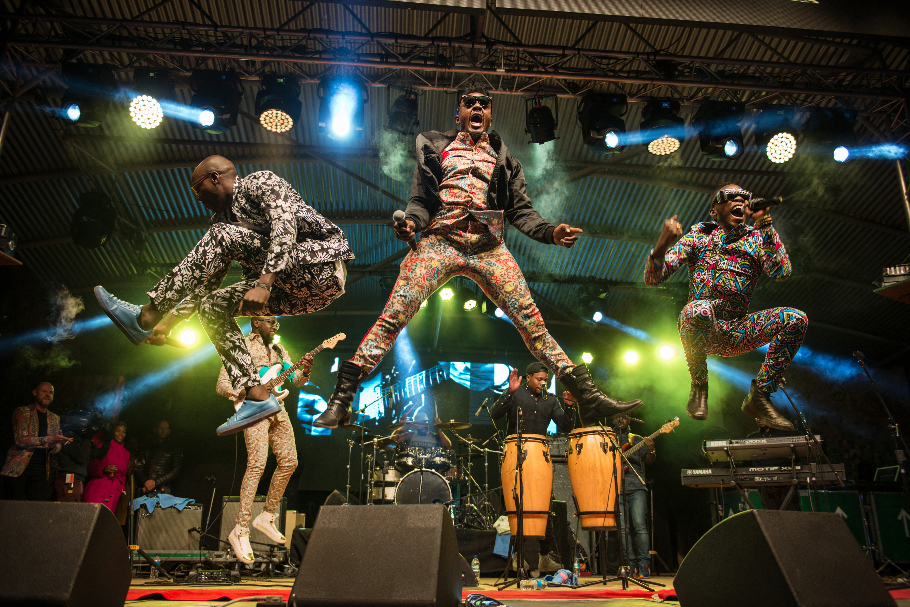 Kenyan band Sauti Sol perform during the Bushfire Festival 2016