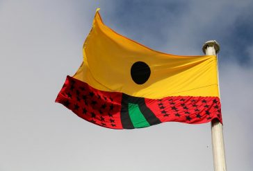 Larry Achiampong Pan African Flag for the Relic Travellers' Alliance