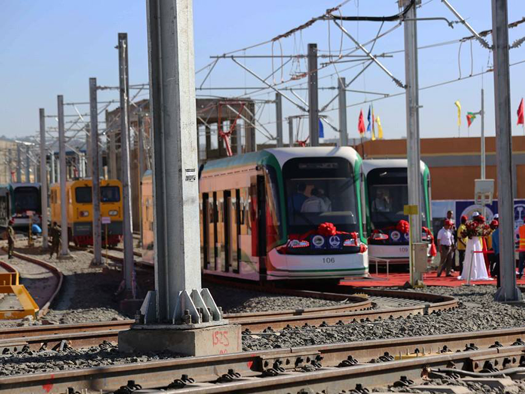 Tram-test running of the light rail in Addis Ababa