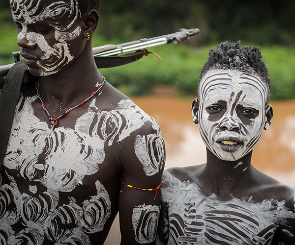 Body paint on Omo tribesmen