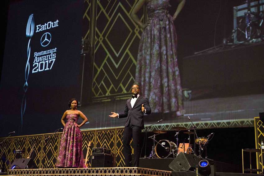 MC's Elana Afrika-Bedenkamp and Maps Maponyane – courtesy of Eat Out Awards