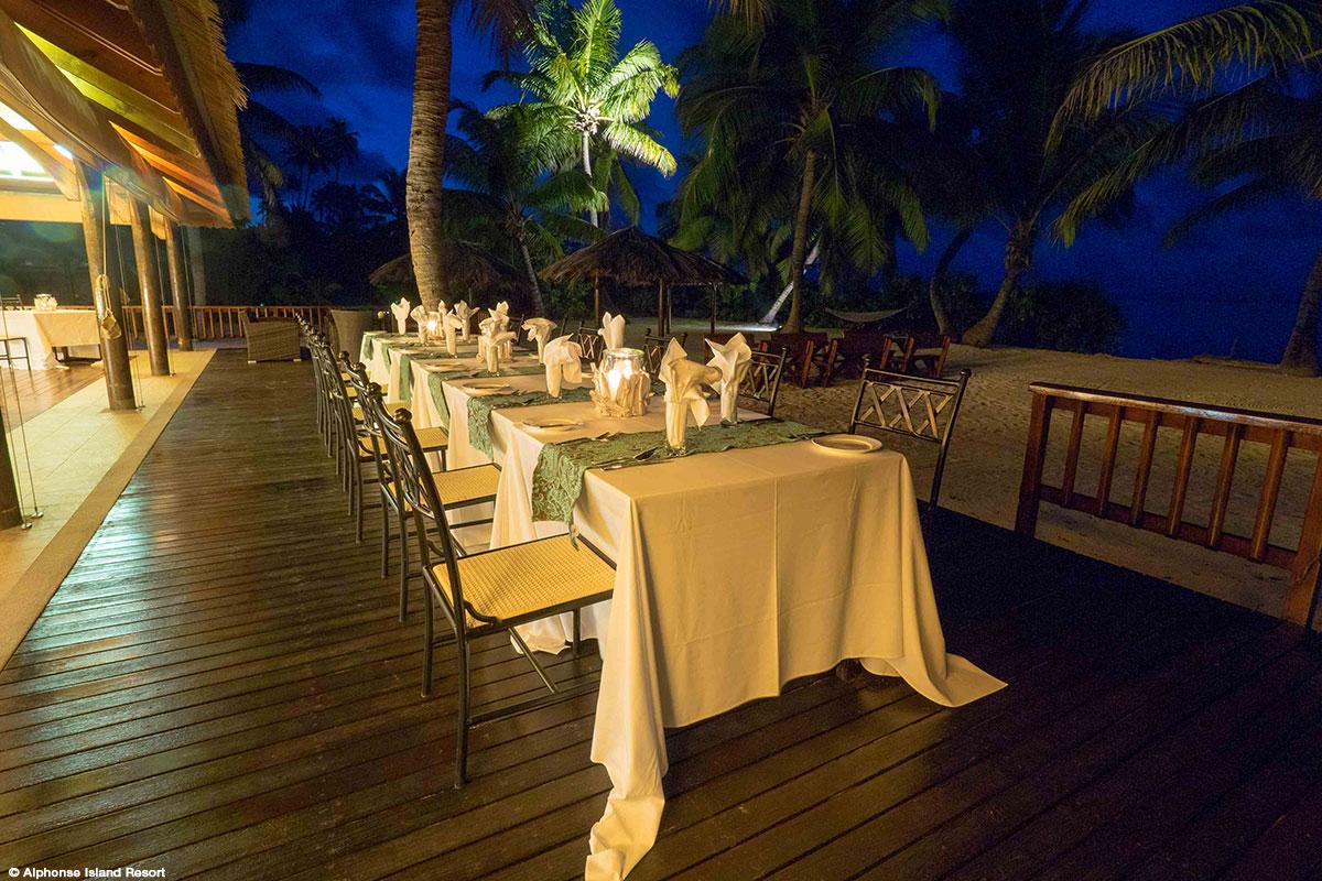 Dining area at Alphonse Island Resort – via AOS Fly Fishing