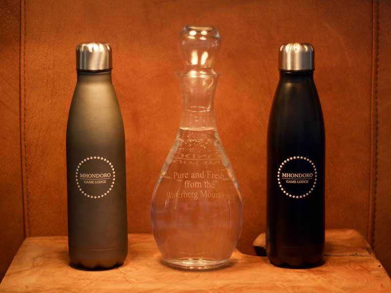 Mhondoro Game Lodge's glass bottles – courtesy of Mhondoro