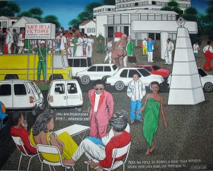 Chéri Samba, Place de la victoire à Kinshasa/Matonge, 1991, 80 x 100 cm oil on canvas – courtesy of Pascal Polar Gallery, Brussels