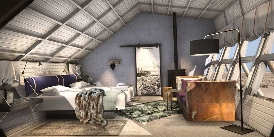 Artistic rendering of interiors of Twin Room at Shipwreck Lodge