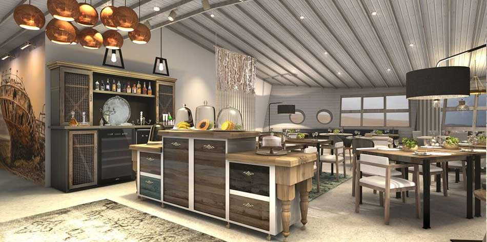 Artistic rendering of the Lounge at Shipwreck Lodge