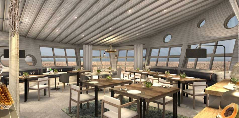 Artistic rendering of the Dining Room at Shipwreck Lodge