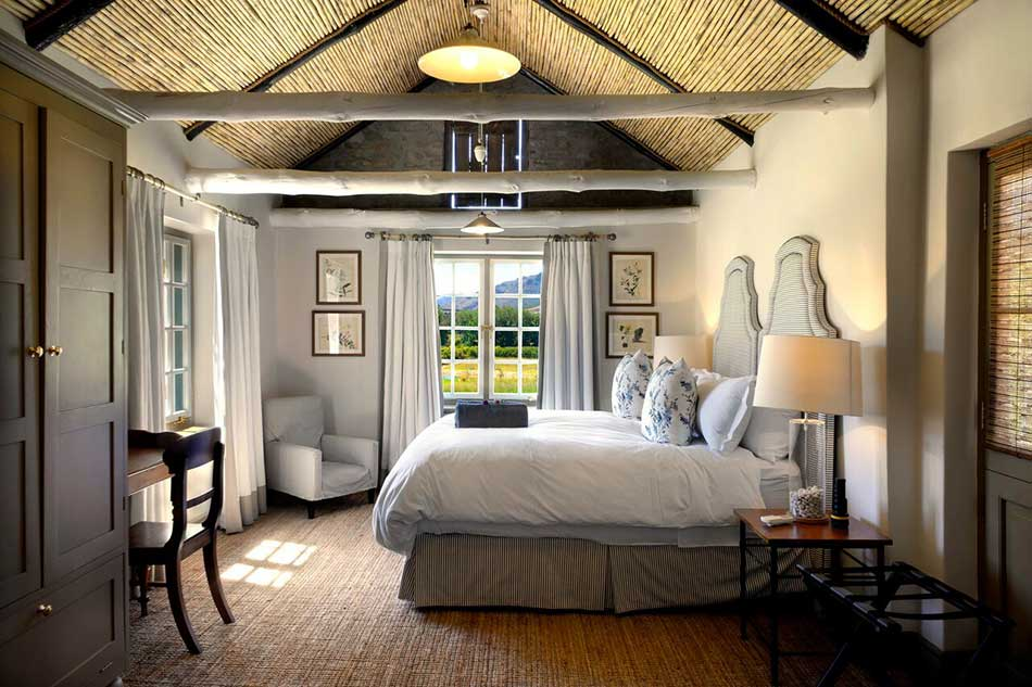Bedroom aesthetic in one of the Werf Cottages, Boschendal Farm