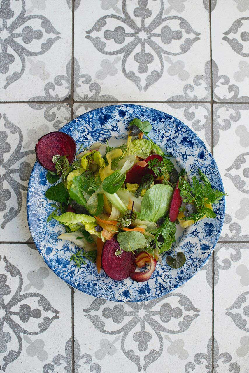 Werf food garden salad in homemade house dressing at Boschendal Farm